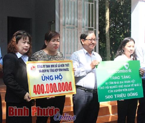 Xổ số Kiến thiết Bình Phước: Nguyên Chủ tịch nước Nguyễn Minh Triết dự lễ bàn giao nhà Đại đoàn kết