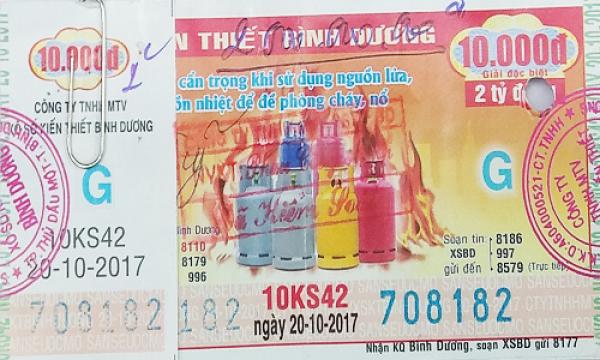 Giải Đặc Biệt Kỳ Vé 10KS42 Mở Thưởng Ngày 20/10/2017
