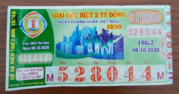 Công ty Xổ số Kiến thiết tỉnh Bình Thuận: Công bố thông tin trả thưởng kỳ vé 10K2