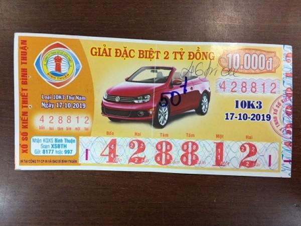 Công ty Xổ số Kiến thiết tỉnh Bình Thuận: Công bố thông tin trả thưởng kỳ vé 10K3
