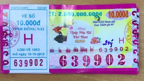 Công ty Xổ số Kiến thiết tỉnh Đồng Nai: Công bố thông tin trả thưởng, kỳ vé 10K3
