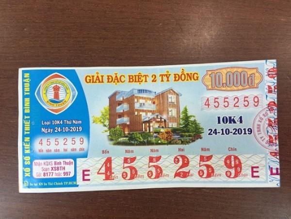 Công ty Xổ số Kiến thiết tỉnh Bình Thuận: Công bố thông tin trả thưởng kỳ vé 10K4