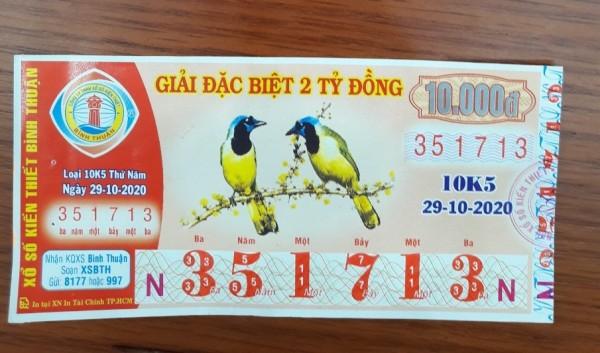 Công ty Xổ số Kiến thiết tỉnh Bình Thuận: Công bố thông tin trả thưởng kỳ vé 10K5