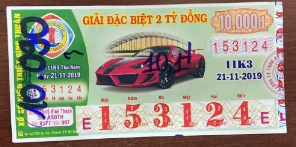 Công ty Xổ số Kiến thiết tỉnh Bình Thuận: Công bố thông tin trả thưởng kỳ vé 11k3