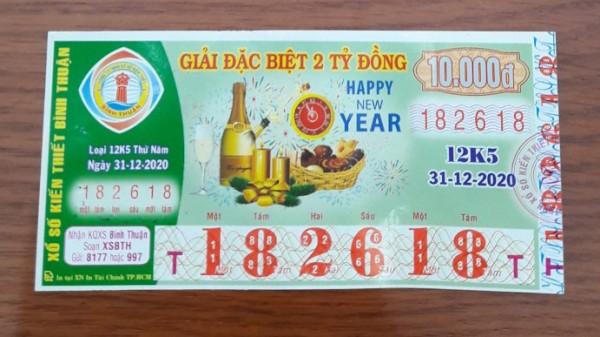 Công ty Xổ số Kiến thiết tỉnh Bình Thuận: Công bố thông tin trả thưởng kỳ vé 12K5
