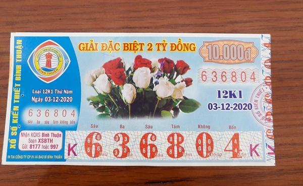 Công ty Xổ số Kiến thiết tỉnh Bình Thuận: Công bố thông tin trả thưởng kỳ vé 12K1