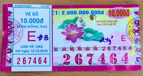 Công ty Xổ số kiến thiết tỉnh Đồng Nai: Công bố thông tin trúng thưởng - Kỳ vé 12K2