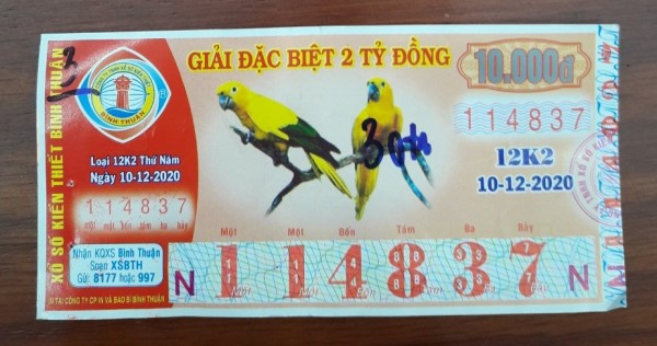 Công ty Xổ số Kiến thiết tỉnh Bình Thuận: Công bố thông tin trả thưởng kỳ vé 12K2