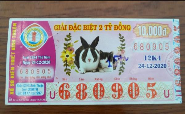 Công ty Xổ số Kiến thiết tỉnh Bình Thuận: Công bố thông tin trả thưởng kỳ vé 12K4