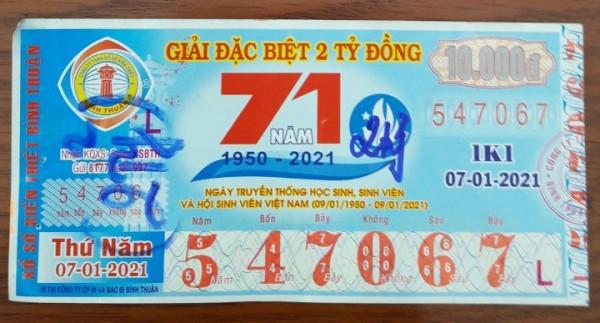 Công ty Xổ số Kiến thiết tỉnh Bình Thuận: Công bố thông tin trả thưởng kỳ vé 1K1