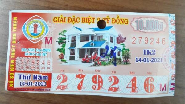 Công ty Xổ số Kiến thiết tỉnh Bình Thuận: Công bố thông tin trả thưởng kỳ vé 1K2