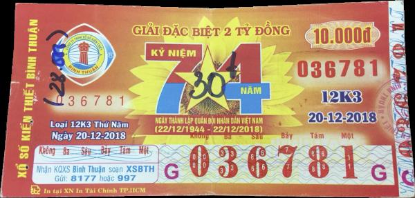 Công ty xổ số kiến thiết Bình Thuận: Công bố thông tin trúng thưởng - Kỳ vé 12K3