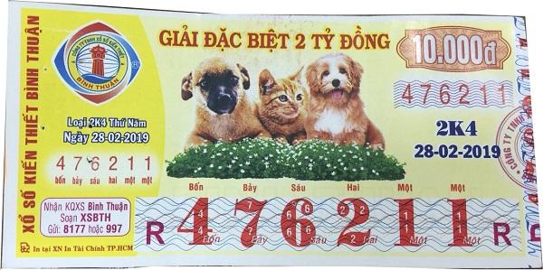Công ty xổ số kiến thiết Bình Thuận: Công bố thông tin trúng thưởng - Kỳ vé 2K4