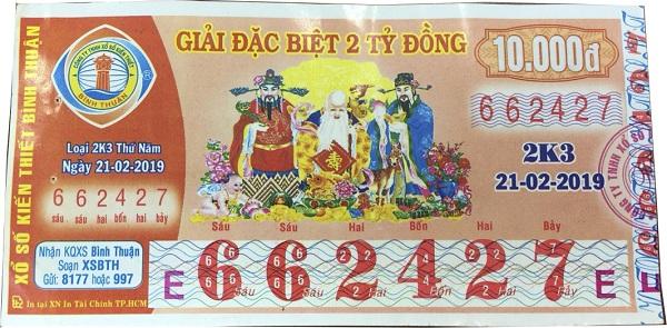 Công ty xổ số kiến thiết Bình Thuận: Công bố thông tin trúng thưởng - Kỳ vé 2K3