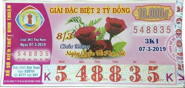 Công ty xổ số kiến thiết Bình Thuận: Công bố thông tin trúng thưởng - Kỳ vé 3K1