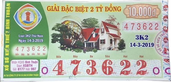 Công ty xổ số kiến thiết Bình Thuận: Công bố thông tin trúng thưởng - Kỳ vé 3K2