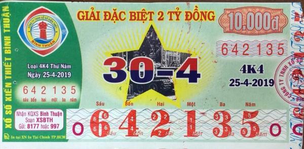 Công ty Xổ số kiến thiết tỉnh Bình Thuận: Công bố thông tin trả thưởng, Kỳ vé 4K4