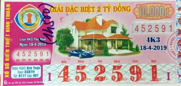 Công ty Xổ số kiến thiết tỉnh Bình Thuận: Công bố thông tin trả thưởng, Kỳ vé 4K3