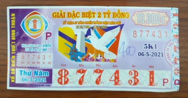 Công ty Xổ số kiến thiết Bình Thuận: Công bố thông tin trả thưởng, kỳ vé 5K1