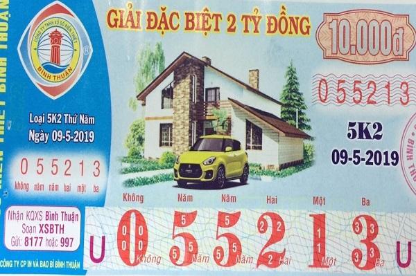 Công ty Xổ số kiến thiết Bình Thuận: Công bố thông tin trả thưởng, kỳ vé 5K2
