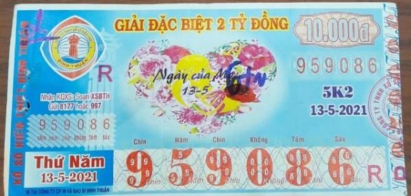 Công ty Xổ số Kiến thiết tỉnh Bình Thuận: Công bố thông tin trả thưởng kỳ vé 5K2