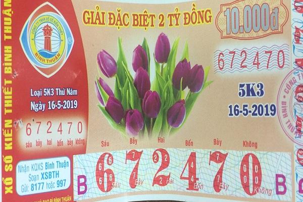 Công ty Xổ số kiến thiết tỉnh Bình Thuận: Công bố thông tin trả thưởng , kỳ vé 5K3