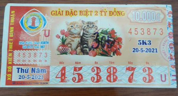 Công ty Xổ số Kiến thiết tỉnh Bình Thuận: Công bố thông tin trả thưởng kỳ vé 5K3
