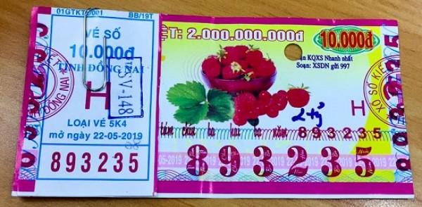 Đồng Nai: Thông báo trả thưởng kỳ vé 5K4