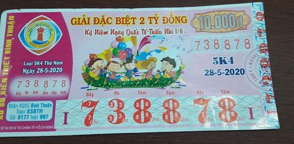Công ty Xổ số Kiến thiết tỉnh Bình Thuận: Công bố thông tin trả thưởng kỳ vé 5K4