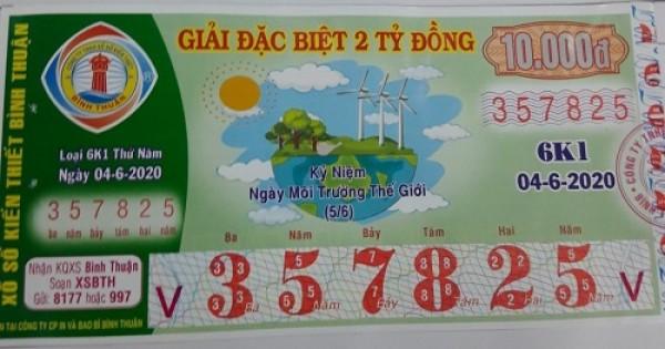 Công ty Xổ số Kiến thiết tỉnh Bình Thuận: Công bố thông tin trả thưởng kỳ vé 6K1