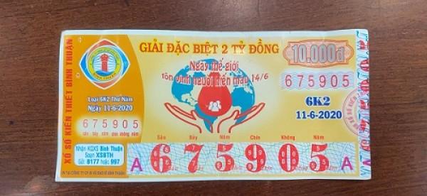 Công ty Xổ số Kiến thiết tỉnh Bình Thuận: Công bố thông tin trả thưởng kỳ vé 6K2