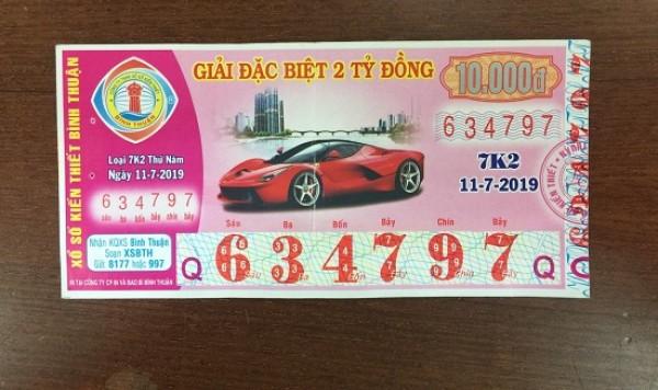 Bình Thuận: Thông tin trả thưởng kỳ vé 7K2