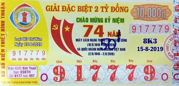 Công ty Xổ số Kiến thiết tỉnh Bình Thuận: Công bố thông tin trả thưởng kỳ vé 8K3