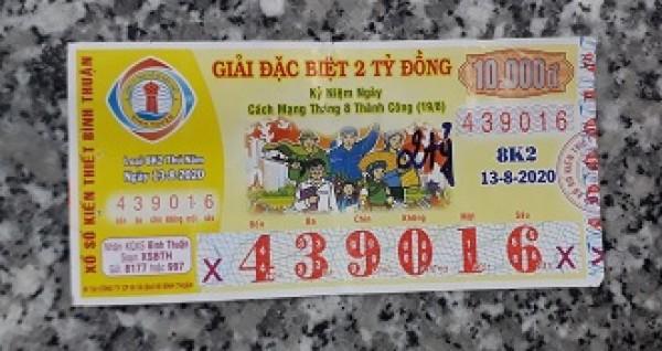 Công ty Xổ số Kiến thiết tỉnh Bình Thuận: Công bố thông tin trả thưởng kỳ vé 8K2