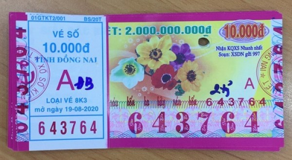 Công ty Xổ số Kiến thiết tỉnh Đồng Nai: Công bố thông tin trả thưởng kỳ vé 8K3