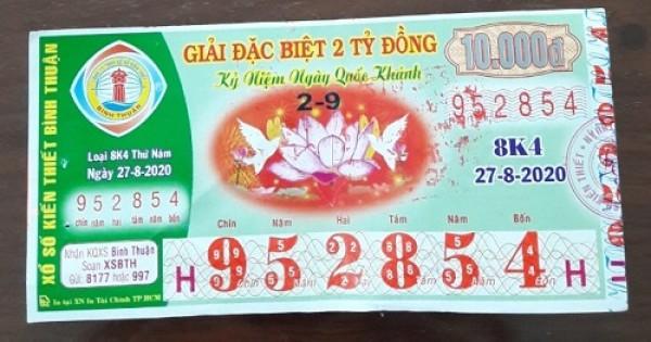 Công ty Xổ số Kiến thiết tỉnh Bình Thuận: Công bố thông tin trả thưởng kỳ vé 8K4