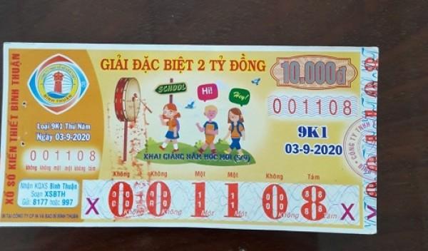 Công ty Xổ số Kiến thiết tỉnh Bình Thuận: Công bố thông tin trả thưởng kỳ vé 9K1