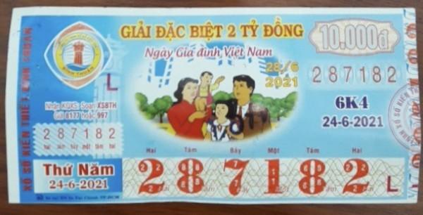 Công ty Xổ số Kiến thiết tỉnh Bình Thuận: Công bố thông tin trả thưởng kỳ vé 6K4