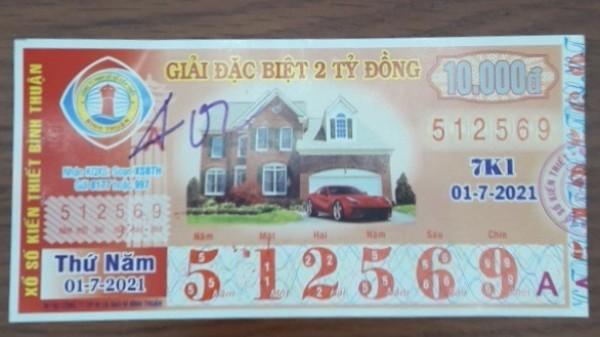 Công ty Xổ số Kiến thiết tỉnh Bình Thuận: Công bố thông tin trả thưởng kỳ vé 7K1