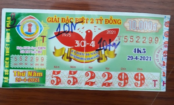 Công ty Xổ số Kiến thiết tỉnh Bình Thuận: Công bố thông tin trả thưởng kỳ vé 4K5