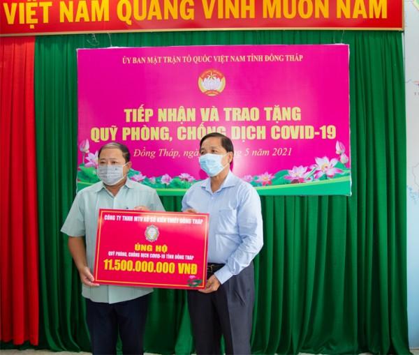 XSKT tỉnh Đồng Tháp ủng hộ 11,5 tỷ đồng cho công tác phòng chống dịch Covid-19