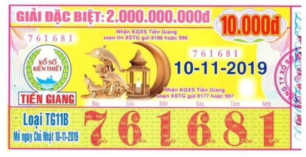 Công ty Xổ số Kiến thiết tỉnh Tiền Giang: Công bố thông tin trả thưởng kỳ vé TG11B