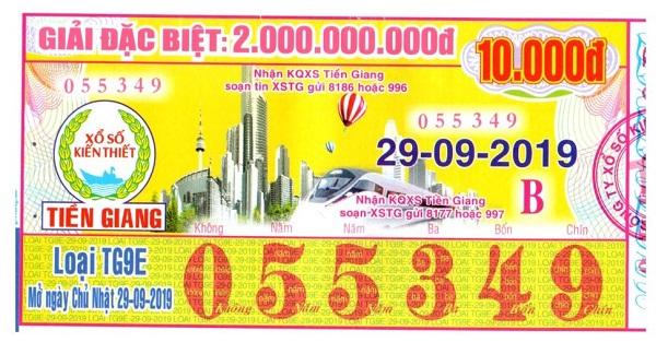 Công ty Xổ số Kiến thiết tỉnh Tiền Giang: Công bố thông tin trả thưởng kỳ vé TG9E