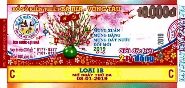Công ty Xổ số kiến thiết tỉnh Bà Rịa - Vũng Tàu: Công bố thông tin trả thưởng - Kỳ vé 1B