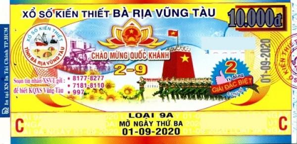 Công ty Xổ số Kiến thiết tỉnh Bà Rịa - Vũng Tàu: Công bố thông tin trả thưởng kỳ vé 9A