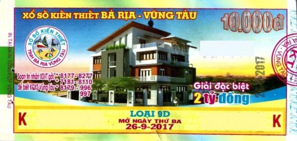 Thông tin trúng thưởng Kỳ vé 9D mở thưởng ngày 26/09/2017 - Công ty XSKT tỉnh Bà Rịa - Vũng Tàu