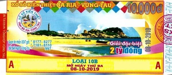 Công ty Xổ số Kiến thiết tỉnh Bà Rịa - Vũng Tàu: Công bố thông tin trả thưởng kỳ vé 10B