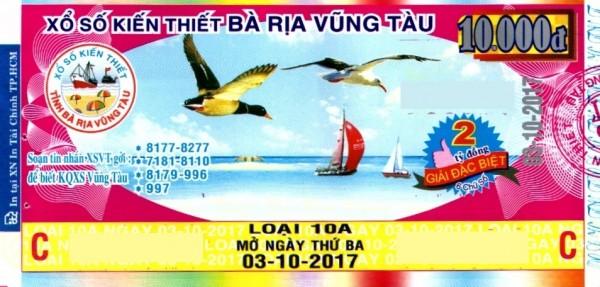 Thông tin trúng thưởng Kỳ vé 10A mở thưởng ngày 03/10/2017 - Công ty XSKT tỉnh Bà Rịa - Vũng Tàu