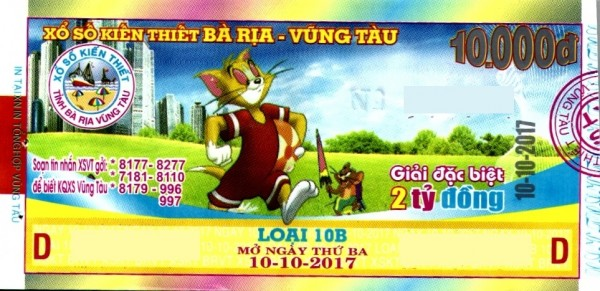 Thông tin trúng thưởng Kỳ vé 10B mở thưởng ngày 10/10/2017 - Công ty XSKT tỉnh Bà Rịa - Vũng Tàu