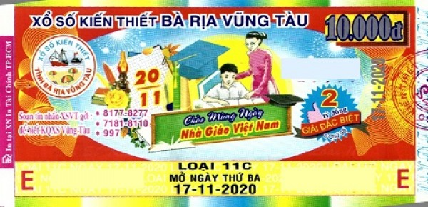 Công ty Xổ số Kiến thiết tỉnh Bà Rịa - Vũng Tàu: Công bố thông tin trả thưởng kỳ vé 11C